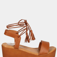 Wrap Wooden Platform Wedge Sandals - Tan