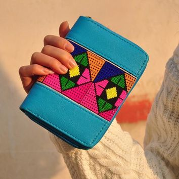Embroidered Long Wallet Linen Party Day Clutch Handbag