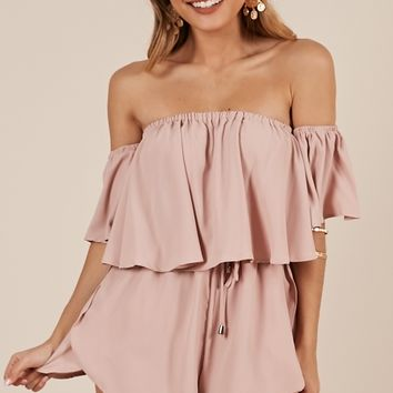 Beneath The Lights playsuit in blush Produced By SHOWPO
