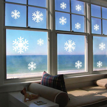 Christmas white Snowflakes Sticker Windows Glass cabinet Wall stickers New Year home decoration Wall Stickers Wallpaper SM6