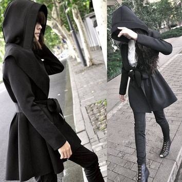 Spring Women Trench Coat Punk Gothic Fashion elegant Raincoat With Belt Plus Size Slim Outwear Coat Hooded Outfits Cape