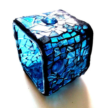 Black Friday/Cyber Monday Sale Blue Stained Glass // Mosaic Candle Holder // Vase // Home Decor // Gift Ideas // Hostess // 3.5 inches