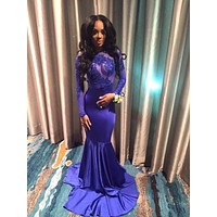 Sexy African Open Back Royal Blue Mermaid Prom Dresses 2017 Satin Sheer Appliques Lace Long Sleeve Prom Dress Party Dress