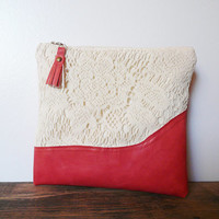 leather clutch bridesmaid lace handbag rustic wedding clutch pouch coral red leather and beige lace