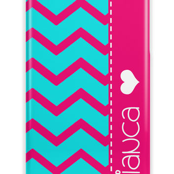 CUTE GIRLY CHEVRON WITH HEART - PERSONALIZED IPHONE CASE