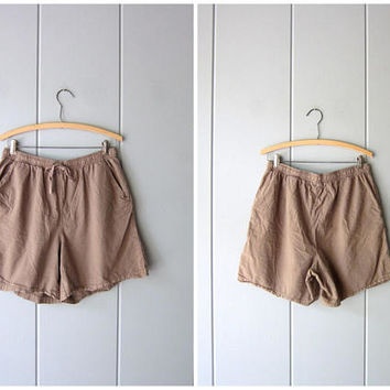 Drawstring Board Shorts 90s Elastic Waist Thin Cotton Shorts Brown Khaki Shorts MOM Shorts Pockets Vintage Beach Shorts Women Petite Large