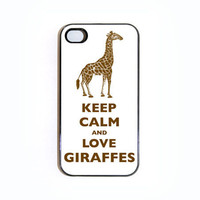 Keep Calm And Love Giraffes iPhone 4 case - Choose Black or White Case
