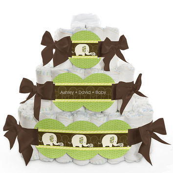 Baby Shower Square Diaper Cakes - 3 Tier - Baby Elephant
