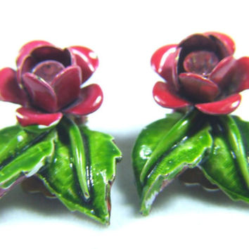 Pink Enamel Earrings Rhinestone Center Metal Floral Flower Clip Back Estate Jewelry Ears