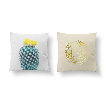 SET of 2 Pillows, Choose Happy, Gold Pillow, Botanical Art, Cactus Yellow, Bed Pillow, Throw Pillow, Cushion Cover, Boho Pillow,Flower Decor