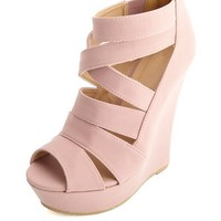 STRAPPY CAGED PEEP TOE PLATFORM WEDGES