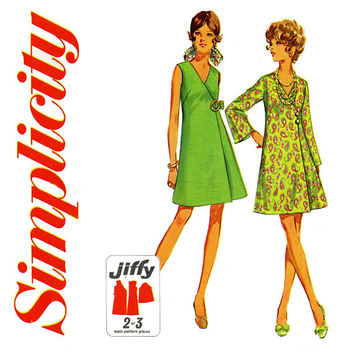 1960s Dress Pattern Bust 34 Simplicity 8133 A Line Evening Jiffy Wrap Dress Sleeveless Bell Sleeve Dress Mod Womens Vintage Sewing Patterns