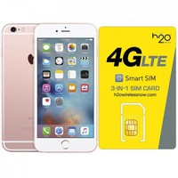 Certified Preowned Apple iPhone 6S Rose Gold GSM Unlocked 16GB & H20 4G LTE SIM Card (1GB Data Included)