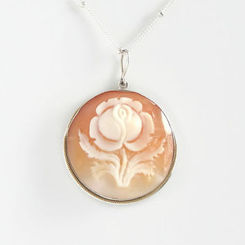 Floral Cameo Necklace -  Antique Shell Cameo Pendant - Vintage Rose Cameo - 30""