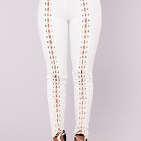 X's And O's Lace Up Pants - White