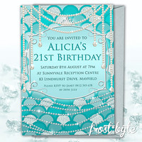 Mermaid Birthday Invitation - blue and silver - pearl and diamond design - scales - digital file - 21st birthday or sweet 16 - aqua