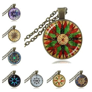 Vintage Wind Rose Or Compass Necklace - Variety Of Colors