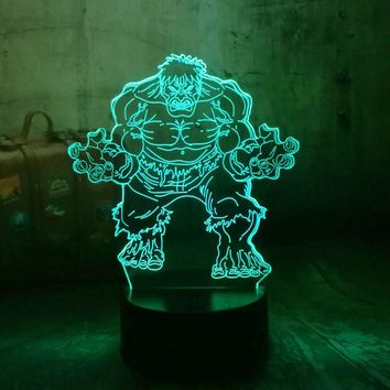 Marvel The Avengers Superhero Minifigures The Hulk 3D LED RGB 7 Color Change Night Light Color Desk Baby Sleep Lamp Boy Kid Gift