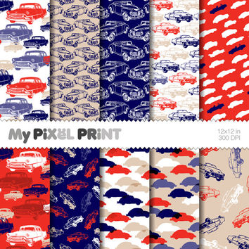 Cars - Navy Blue Red White - Travel - Digital Scrapbooking Paper Pack - My Pixel Print