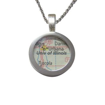 University of Illinois Map Pendant Necklace