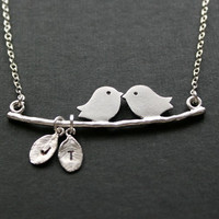 Initial necklace  Family Love Birds engraved by PTInspires on Etsy