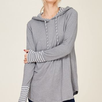 Grey Striped Hoodie Pullover Top