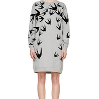 Mcq Alexander Mcqueen Grey Velvet Swallow Sweatshirt Dress