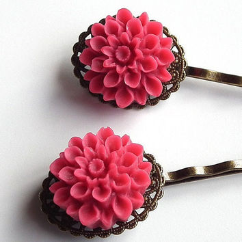 Hot Pink Chrysanthemum Flower Bobby Pins Antiqued Brass Filigree