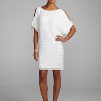 Cold Shoulder Beaded Sequin Dress - David's Bridal