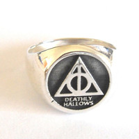 Solid Sterling Silver 925 Harry Potter Deathly Hallows Ring ALL SIZE