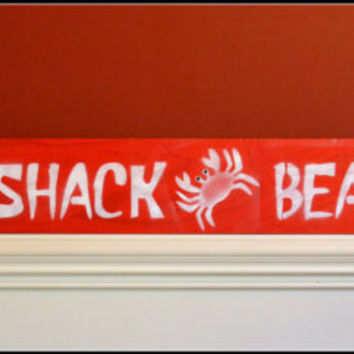 Painted Wood Sign, Beach Sign, Beach Decor, Crab Shack Sign, Porch Sign/Decor, Bar Sign, Red/White Sign, Wood Sign