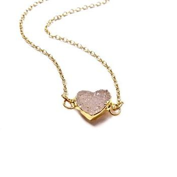 Druzy Sweet Heart Necklace