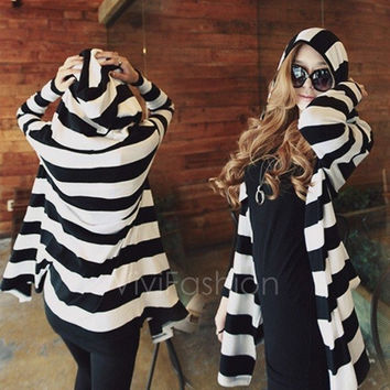 New Fashion Sexy Women's Girl Loose Striped Coat Jacket Long Cardigan Hooded Hoodie Top VVF (Size: M)