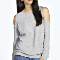 Louise Glitter Open Shoulder Sweatshirt
