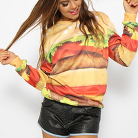 Mr Gugu & Miss Go - Hamburger Sweater - Print