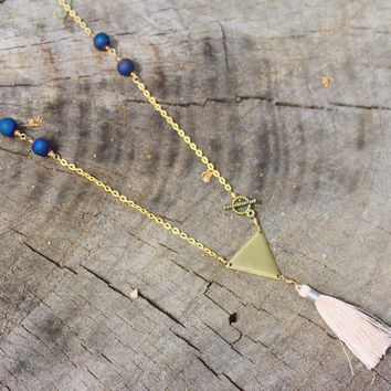 Toggle Clasp Triangle Pendant + Druzy Tassel Necklace // Bohemian Statement Necklace // Boho Jewelry - Long Pendant Necklace