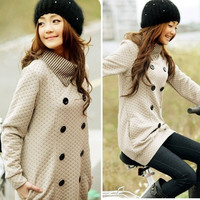 Fashion Korean Jacket Women Fashion Grid Knitting Top Long Coat Tops Free Size = 1929577988