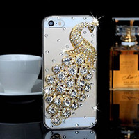 "iPhone 6 Case, MC Fashion Peacock Crystal Rhinestone 3D Diamante Hard Shell Phone Case Compatible for Apple iPhone 6 4.7"" (2014) ONLY (Silver)"