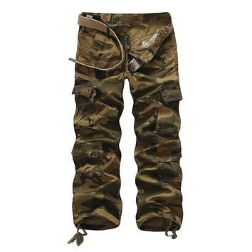 Size 28-40 Men Cargo Pants Camouflage Tactical Trousers Spring Casual Multi Pockets Cotton Pants men