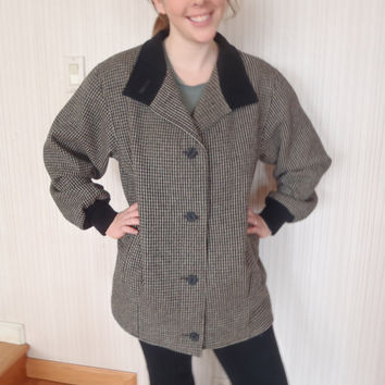 80s Wool Jacket/Coat by Kristen Blake /Black Brown Herringbone Bomber Coat/  Vintage Womens Clothing by Feisty Farmers Wife