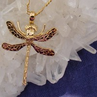 Gold Clad Plated Hand Cast Sterling Dragonfly Pendant OOAK | jewelrybynorth - Jewelry on ArtFire
