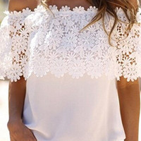 White Off Shoulder Floral Knit Top