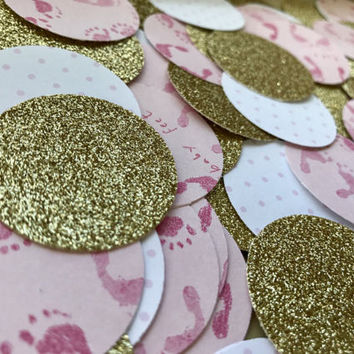 Large Baby Shower Confetti, Pink And Gold Confetti, Gender Reveal Confetti, Glitter Confetti, Gold Confetti, Party Decor, Party Confetti