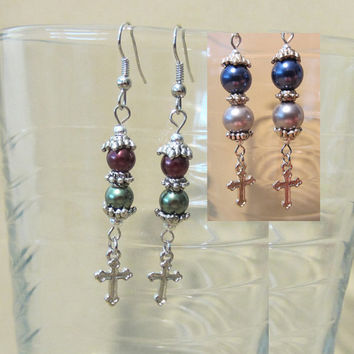 Handmade Double Pearl Dangle Earrings w/ Silver Cross, Christmas, Christian, Holiday, Classic, Dainty, Subtle, Fashion Jewelry, Colorful