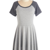 ModCloth Scholastic Mid-length Short Sleeves Fit & Flare Revel the Playing Field Dress in Grey