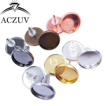 PEAPYV3 200pcs/Lot Blank Earring Base Cabochon Cameo Base Setting 8mm 10mm 12mm 14mm 16mm Bezel Post Earrings Diy Jewelry Making