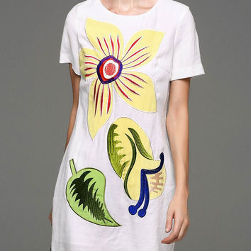 White Floral Embroidered Shift Dress