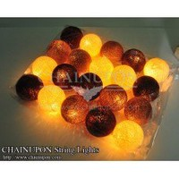 Choco-Brown Earth Tone Cotton Balls String Lights