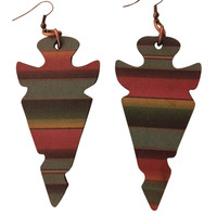 Handcrafted Serape Leather Arrowhead Earrings