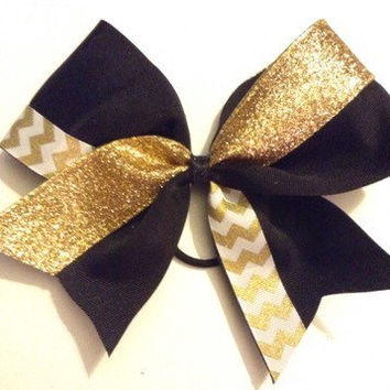 Black & Gold Sparkle Chevron Cheer Bow